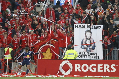 Paper streamers thrown at an MLS soccer match by zealous fans