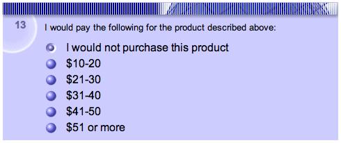 survey price point question