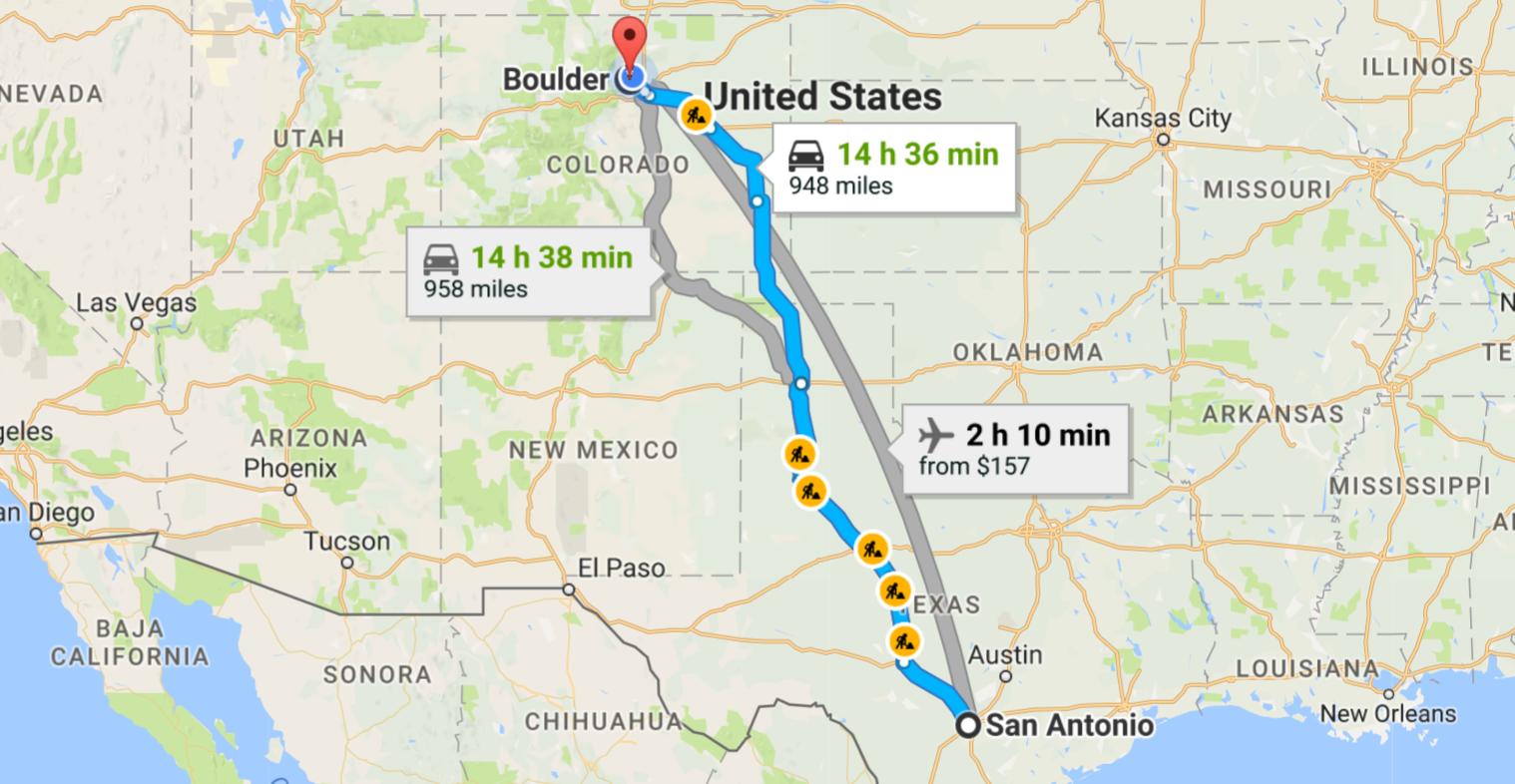 driving route, san antonio texas to boulder, colorado
