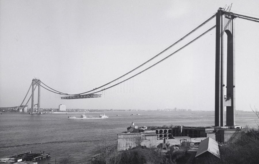 verrazano narrows bridge under construction, circa 1963