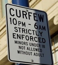 teen parent child curfew sign - strictly enforced