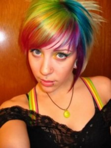 girl with rainbow dyed hair