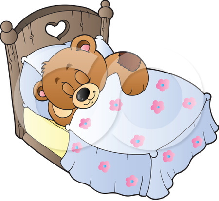 sleeping teddy bear illustration