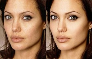 Angelina Jolie - Photoshop before and after