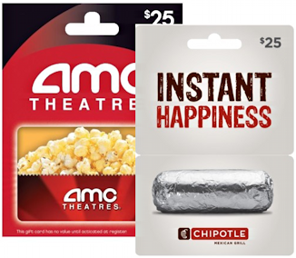 chipotle and amc theater gift cards