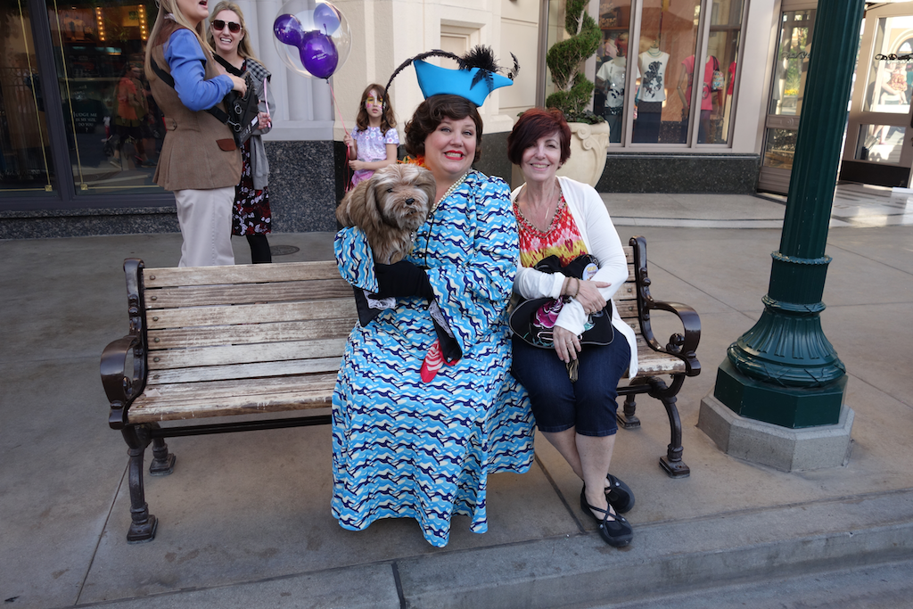 My sister Judi with a Street Entertainer, Entry area to Disney's California Adventure