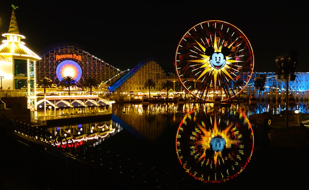Nighttime reflections off Paradise Bay, Disney's California Adventure