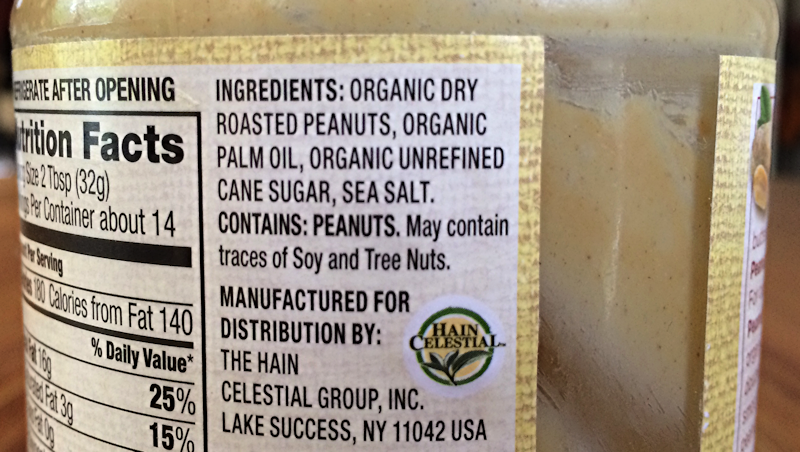 list of ingredients on organic peanut butter jar