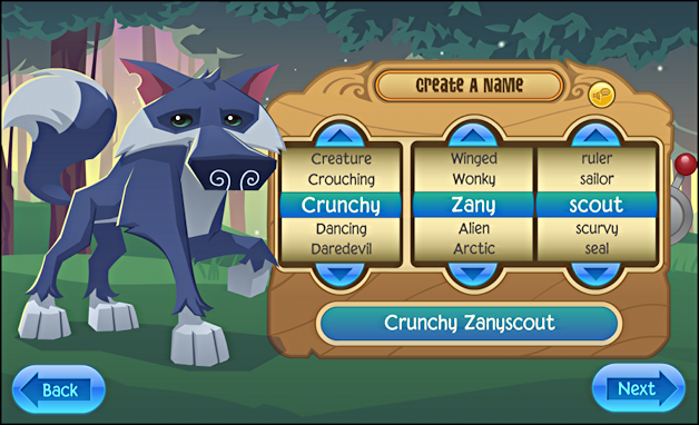 create animal, choose name in animaljam