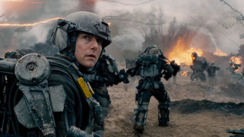 "Cage (Tom Cruise) and Vrotonski (Emily Blunt) from ""Edge of Tomorrow"""