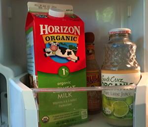 horizon organic 1% milk, in our fridge door