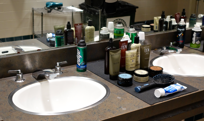 a sink full of men's products