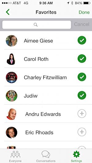 favorites list in message hub ios 8 app