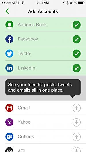 iphone ipad app messagehub set up social media network accounts