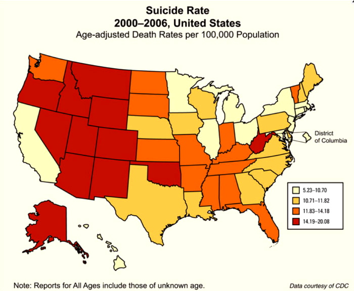 suicide rate by state map