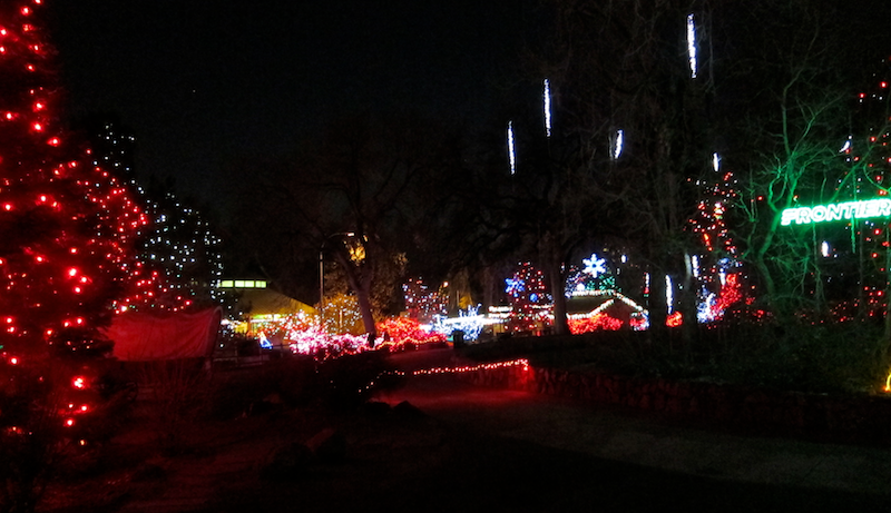 denver zoo lights with falling stars