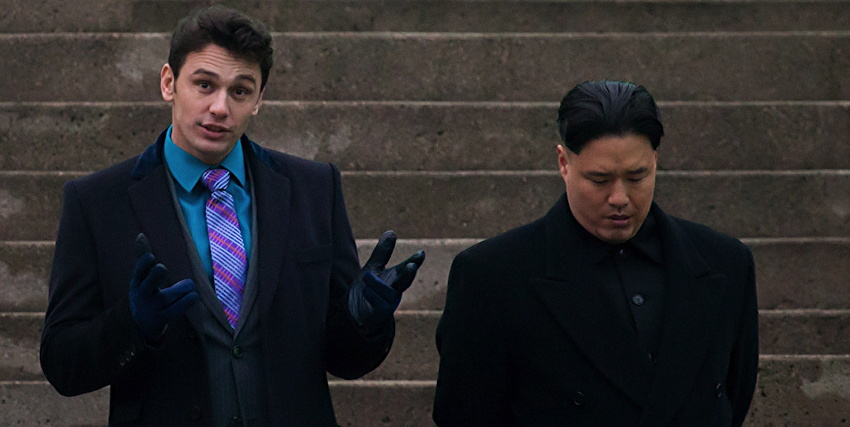 "Skylark (James Franco) with Jung-Un (Randall Park), from ""The Interview""."