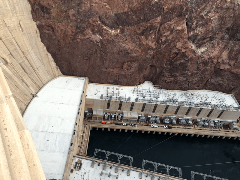 hoover dam, looking down