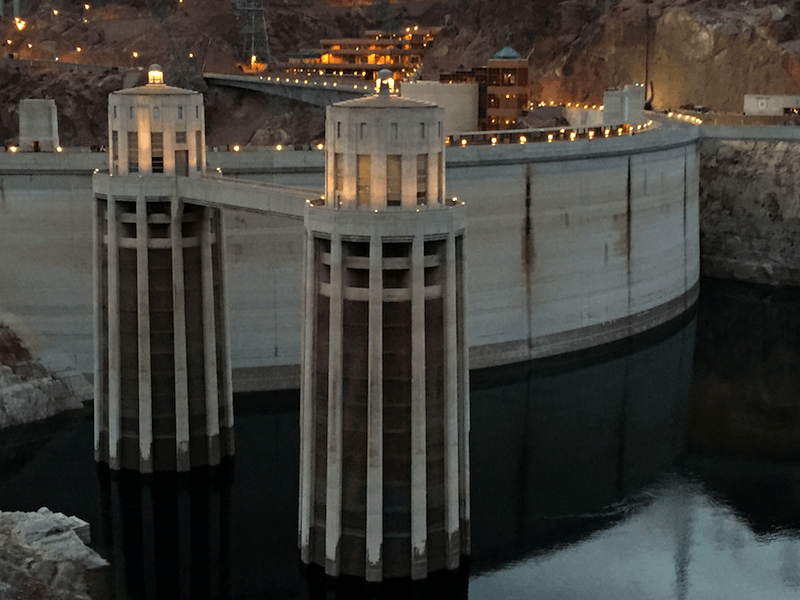 hoover dam, water intake towers, dusk