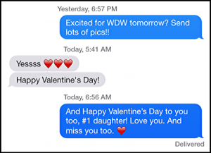 text message, father daughter, valentine's day and trip to wdw