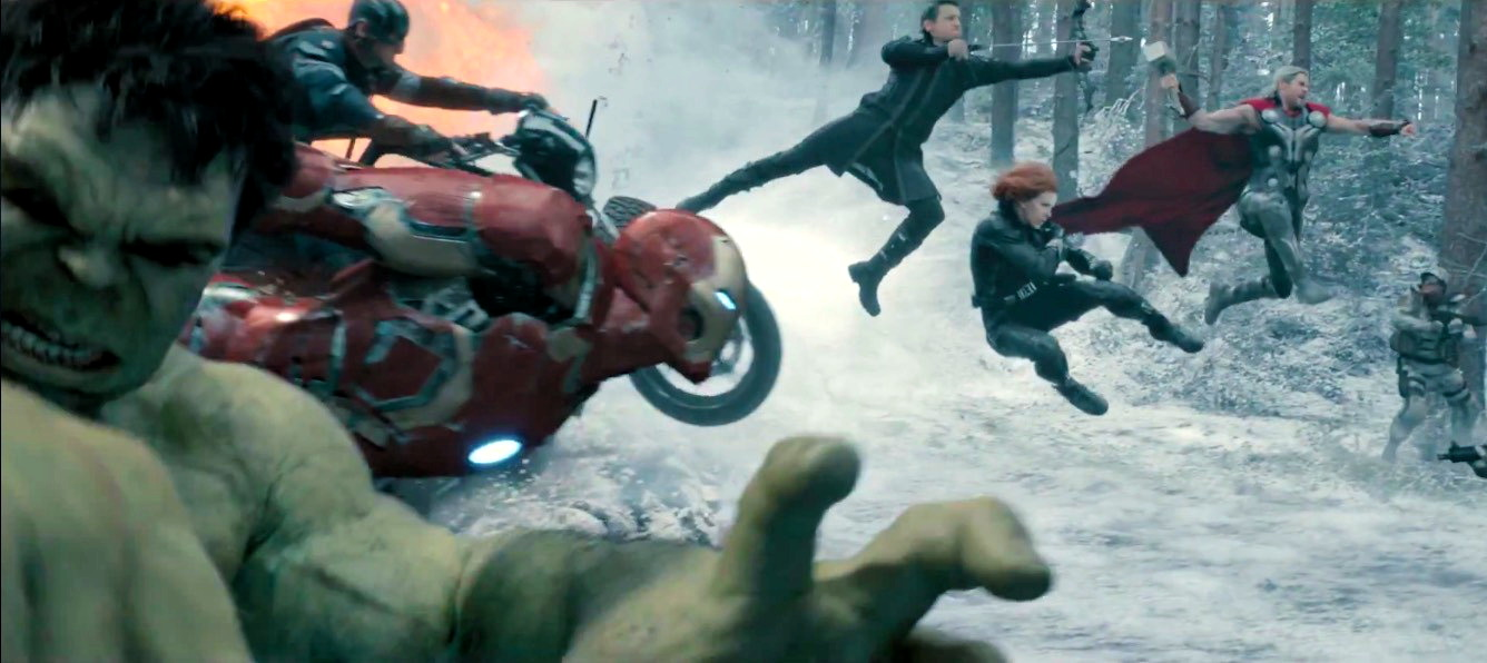 """Avengers attack in slow-motion, from """"Avengers: Age of Ultron"""""""