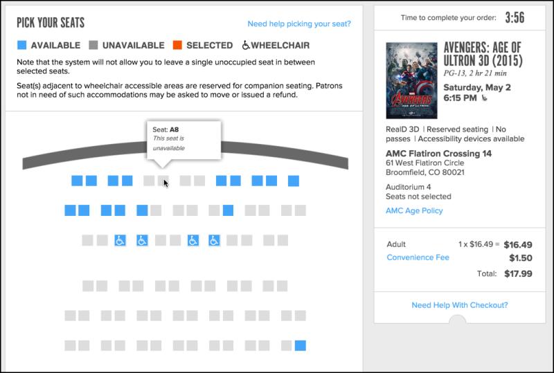 amc flatiron crossing 14 theater movie seating chart row a