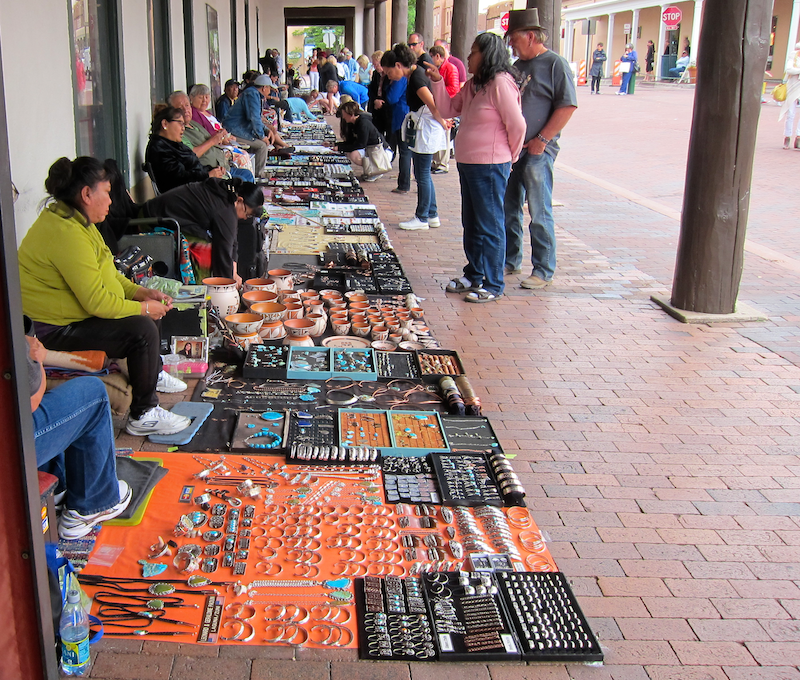 native american indian artists selling wares, santa fe plaza, nm