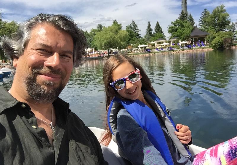 paddle boating on the Broadmoor lake