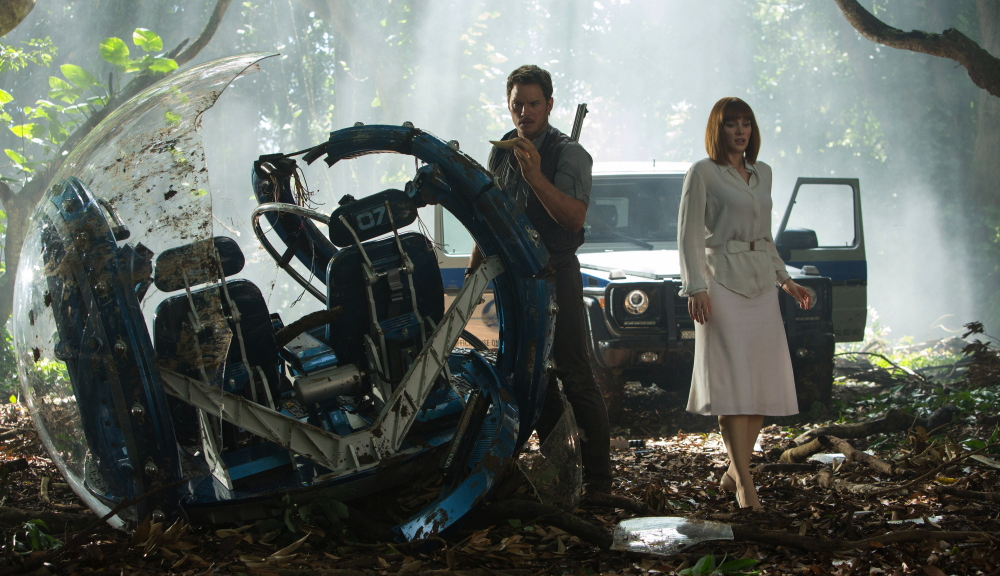 "Owen (Chris Pratt) and Claire (Bryce Dallas Howard) from ""Jurassic World"""