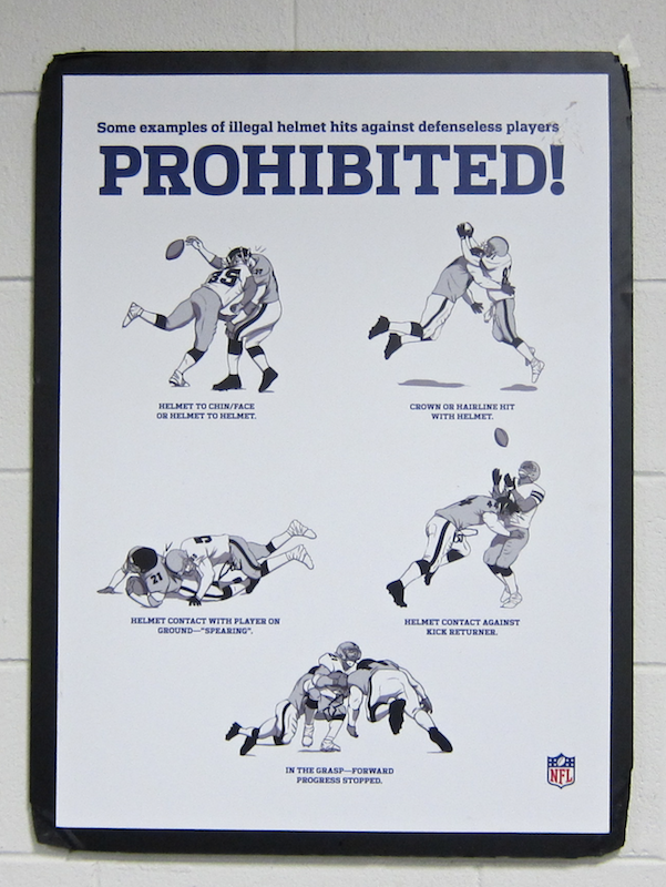 bad nfl football tackles prohibited sign