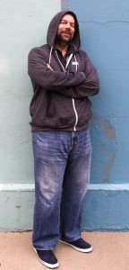 dave taylor wearing hoodie and rockport chukka shoes