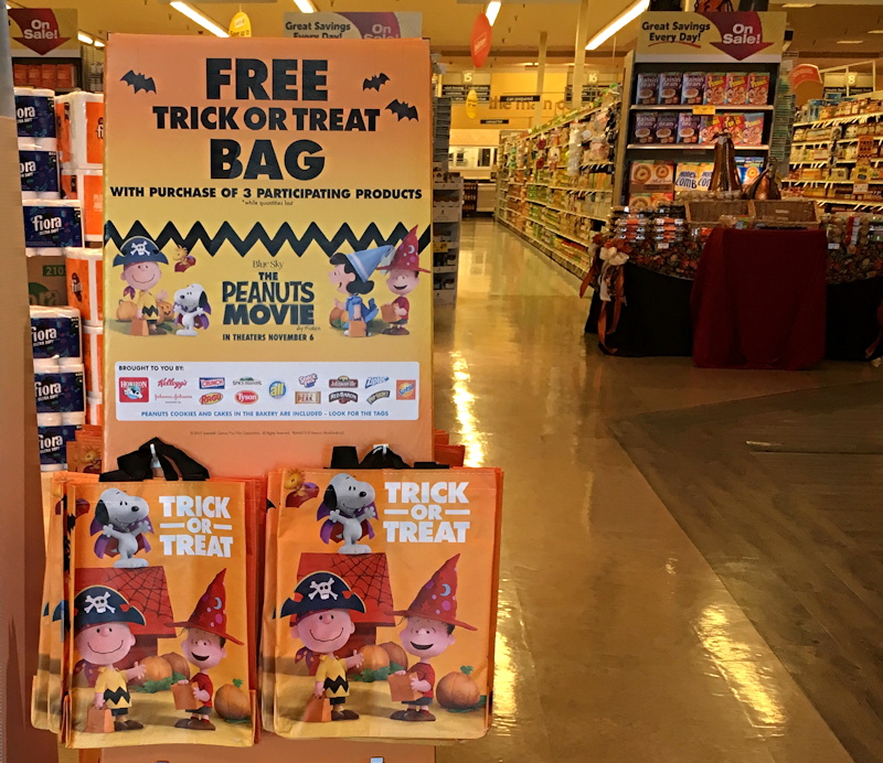 trick or treat bag promo display, safeway store, colorado