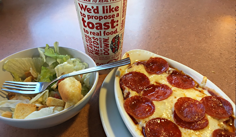 pizza baked spaghetti meal with salad and beverage at fazoli's