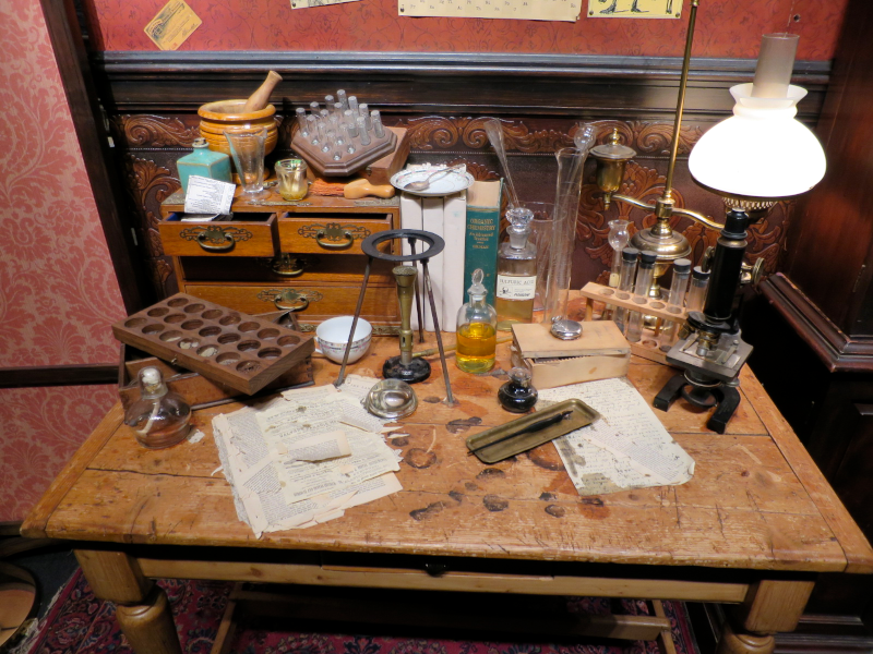 science and chemistry research desk, 221b baker street