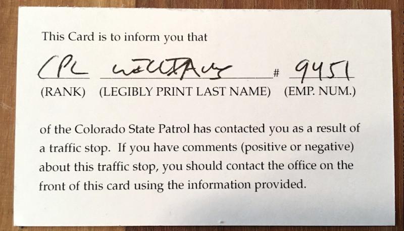 colorado patrol courtesy feedback card