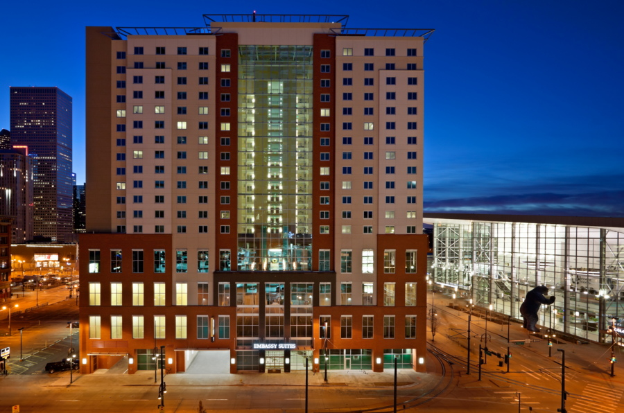 embassy suites downtown denver convention center, exterior shot, night