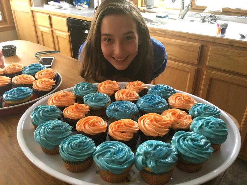 my daughter cupcakes cupcake wars blue orange super bowl