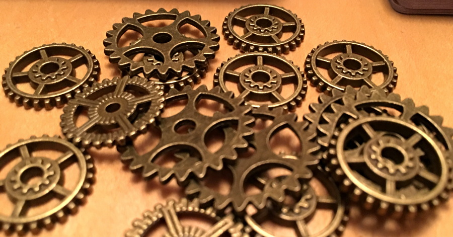 real metal cogs from steampunk rally