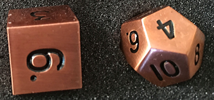 Legendary Copper Metal Dice Set from Easy Roller Dice close up