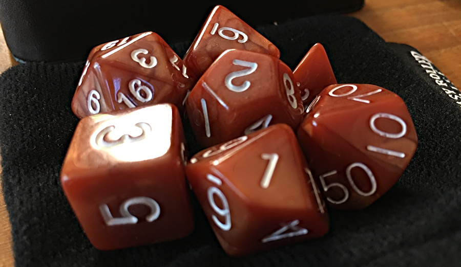 Brown D&D dice set from Easy Roller Dice