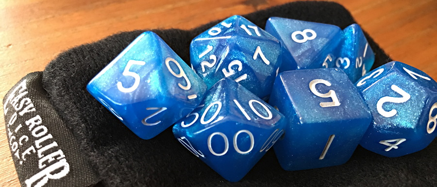 Blue D&D dice set from Easy Roller Dice