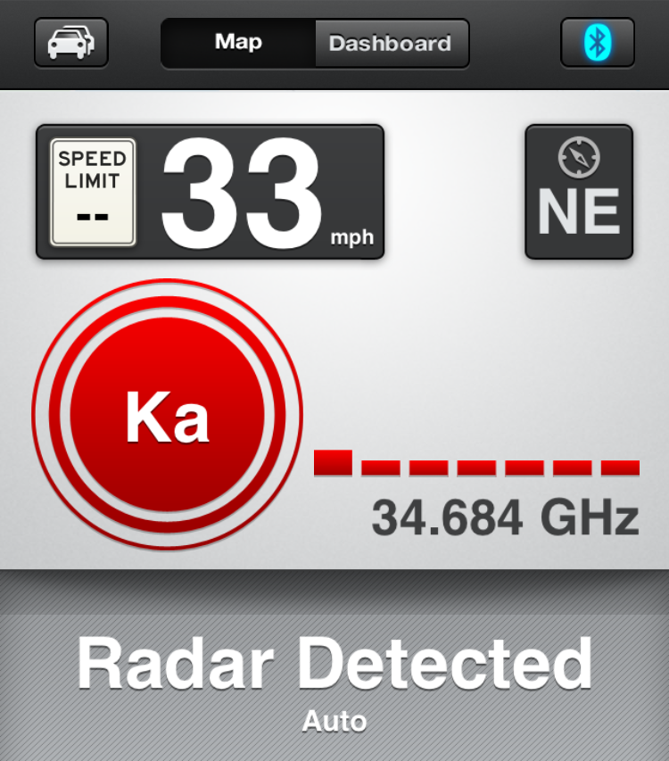 ka band radar detected, escort live