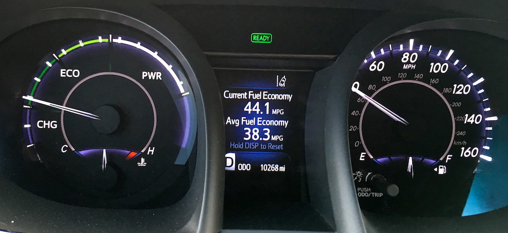 2016 toyota avalon hybrid dashboard display, mpg mileage