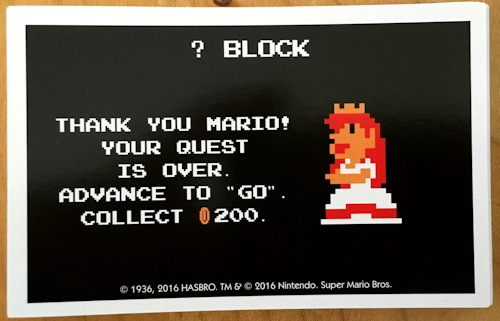? block card, super mario bros monopoly