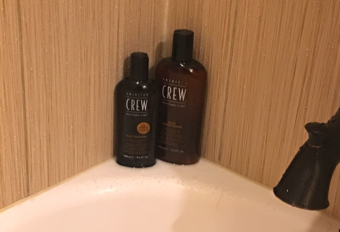 american crew bottles in hotel shower