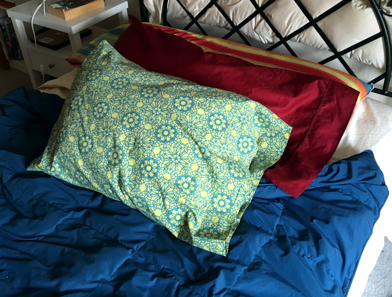 clean pillows and bedding