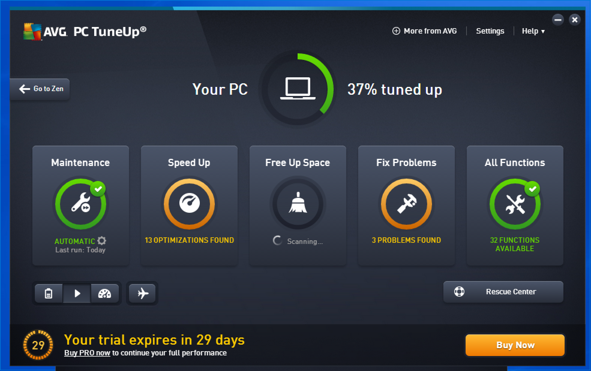 avg pc tuneup main screen