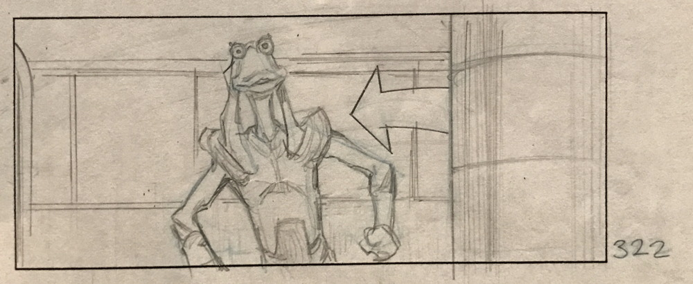 jar jar binks storyboard character sketch