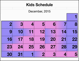 parenting schedule calendar, pink and purple