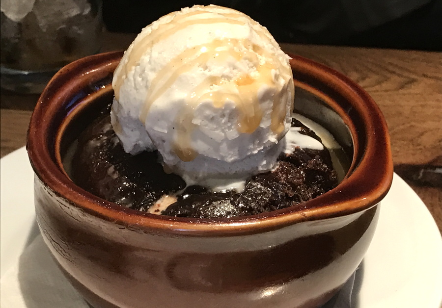 triple chocolate cake dessert rusty bucket